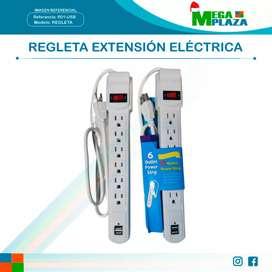 Regleta Extensión Eléctrica 6 entradas y 2 puertos USB