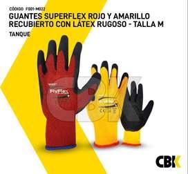 GUANTES SUPER FLEX ROJO Y AMARILLO RECUBIERTO CON LÁTEX RUGOSO