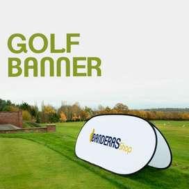 Golf Banner exterior, exhibidor de publicidad textil lavable muy resistente al viento.