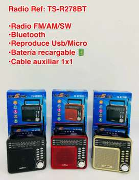 RADIO TOPSONIC RECARGABLE, MULTIBANDAS BLUETOOTH TS-R278BT