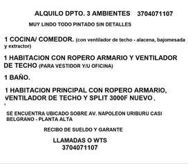 ALQUILO DPTO 3 AMBIENTES - P/ 1 O 2 PERSONAS