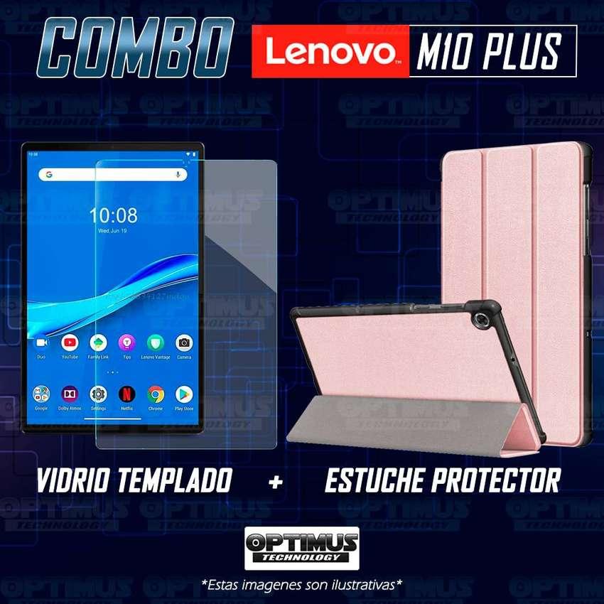 Combo Vidrio Cristal Templado Y Estuche Forro Case Protector para Tablet Lenovo M10 Plus Tb-x606f