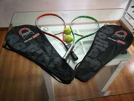 Vendo Raquetas para tenis + 3 pelotas + 2 forros. Usadas.