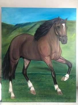 Hermoso cuadro Pintura de caballo grande en óleo