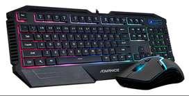 Kit de teclado y mouse Gamer Advance ADV-4150, Retro-Iluminado USB, negro. NUEVO SELLADO