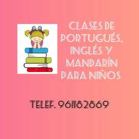 Clases de Inglés, Portugués y Mandarín para niños