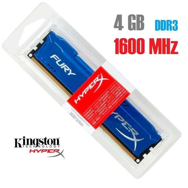 Memoria RAM DDR3 4 GB 1600 MHz Hyperx Fury Blue (blister) 0