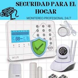Sistema de seguridad / alarmas para el hogar, con prueba de monitoreo profesional 24/7, sin contratos.