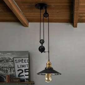 Lampara Araña Luminaria Polea Vintage Foco Luz Led