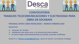 Ingreso para trabajos de instalaciones telecomunicaciones y electricas en Socabaya