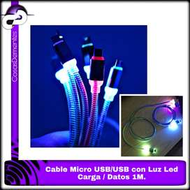 CABLE MICROUSB/USB 1M CON LUZ LED