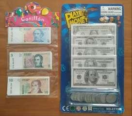 Juego y juguete - Billetes y monedas, aprende a contar Dólares y pesos