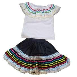 Disfraz Vestido Traje Típico Campesina Boyacense – Blusa y Falda Talla 6 – para Niña – UdumbaraFantasia