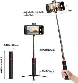 EZRA pall de selfie bluetooth retractil y tripode con mando ainalambrixo con luz led boanca gir 369 gratis ajustable