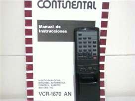 Control remoto y manual videograbadora Vhs Continental vcr1870an