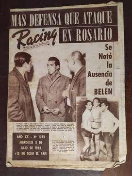 revista partidaria racing numero 1033 , 3 de julio de 1963