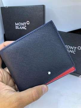 Billeteras Mont Blanc Azul Cuero Envio Gratis