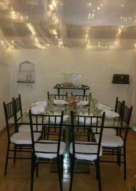 Alquiler de menaje, mobiliario, decoración y polvora fría para eventos