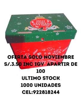 s/3.50  de 100 a mass..cajas para canastas navideñas