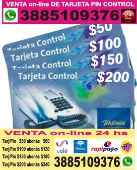 VENTA on-line DE TARJETA PIN CONTROL - Telefonica - Movistar - RECARGA VIRTUAL PERSONAL CLARO TUENTI