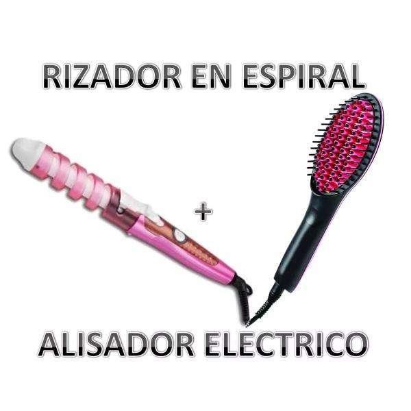 Combo Tv Cepillo Alisador Digital 450ºf Pinza Rizador Curl