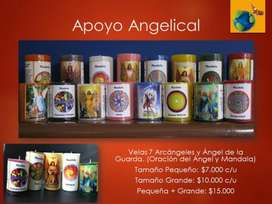 Velas de colores con Oración Arcángeles y Mandala