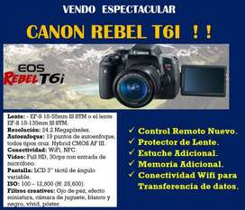 VENDO  ESPECTACULAR CANON REBEL T6I  ! !