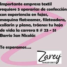 SE REQUIERE OPERARI@S DE CONFECCION EXPERIENCIA EN FAJAS