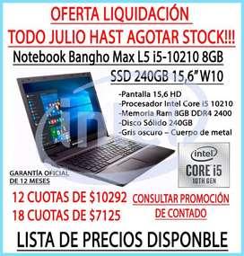 NUEVA NOTEBOOK Bangho Max L5 i5-10210 8GB SSD 240GB 15,6″ W10 HASTA EN 18 CUOTAS!!!