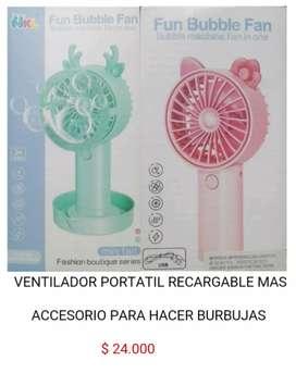 Mini ventilador recargable portátil personal pequeño mas con accesorio para hacer burbujas