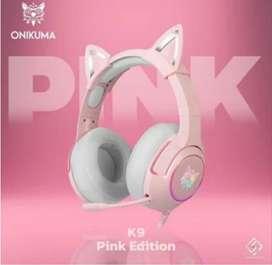 Audifonos gamer rosa con micrófono y orejas de gato