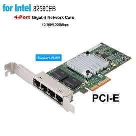 Tarjeta rj45 red Gigabit Ethernet LAN PCI-E 10/100 / 1000Mbps Intel i340-T4