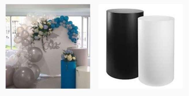 Mesas cilindros y backings decorativos en alquiler. 0