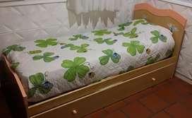 Cama de una plaza con cama de abajo, cajonera y un colchón