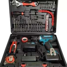 Taladro percutor Makita 21 Voltios reversible con Torque kit herramientas trabajo pesado
