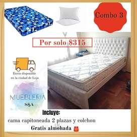 Cama capitoneada más colchón