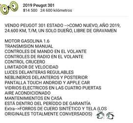 Como nuevo Peugeot 301 año 2019 $14.500