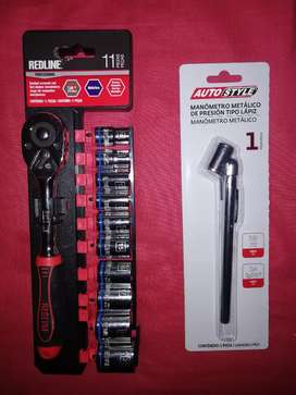 Vendo juego de dados y manómetro de lápiz metálico