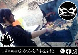 Servicio de parrilladas y asados, platos de comida, eventos a domicilio, alquiler de parrillas a domicilio
