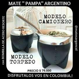MATE  PAMPA ARGENTINO con BOMBILLA DE ACERO BASE RESORTE !