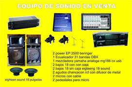Se vende un equipo de sonido profesional