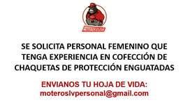 SE SOLICITA PERSONAL FEMENINO CON EXPERIENCIA EN COFECCIÓN DE CHAQUETAS DE PROTECCIÓN