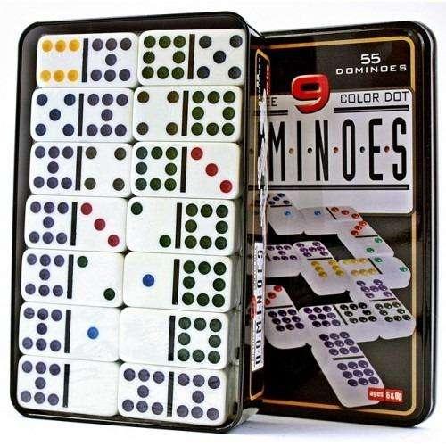 Domino 55 Fichas Juego De Mesa A Color Doble 9 Caja De Metal 0