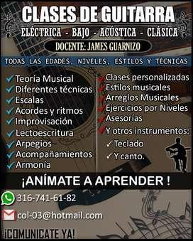 clases de Guitarra electrica,clasica y popular.