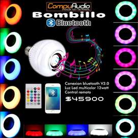 Bombillo Bluetooth Led multicolor con control remoto