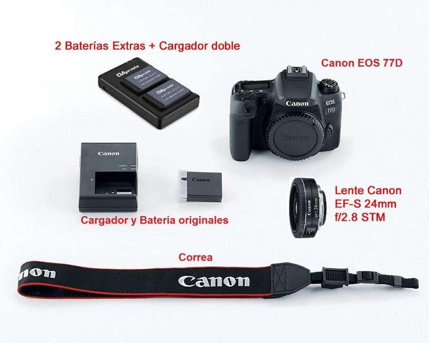 Canon 77d  Lente Baterías Y Cargador 0