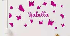 Vinilo decorativo mariposas niñas para habitación