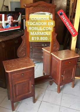 COMODA TOCADOR EN ROBLE Y MARMOL!!!