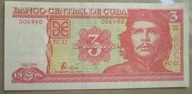 Billete Cuba 3 pesos che guevara