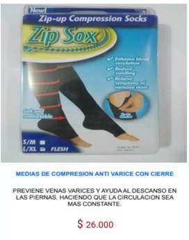 Medias de compresion  antivarices zip sox con sierre cierre previene venas varices anti fatiga mejor circulacion